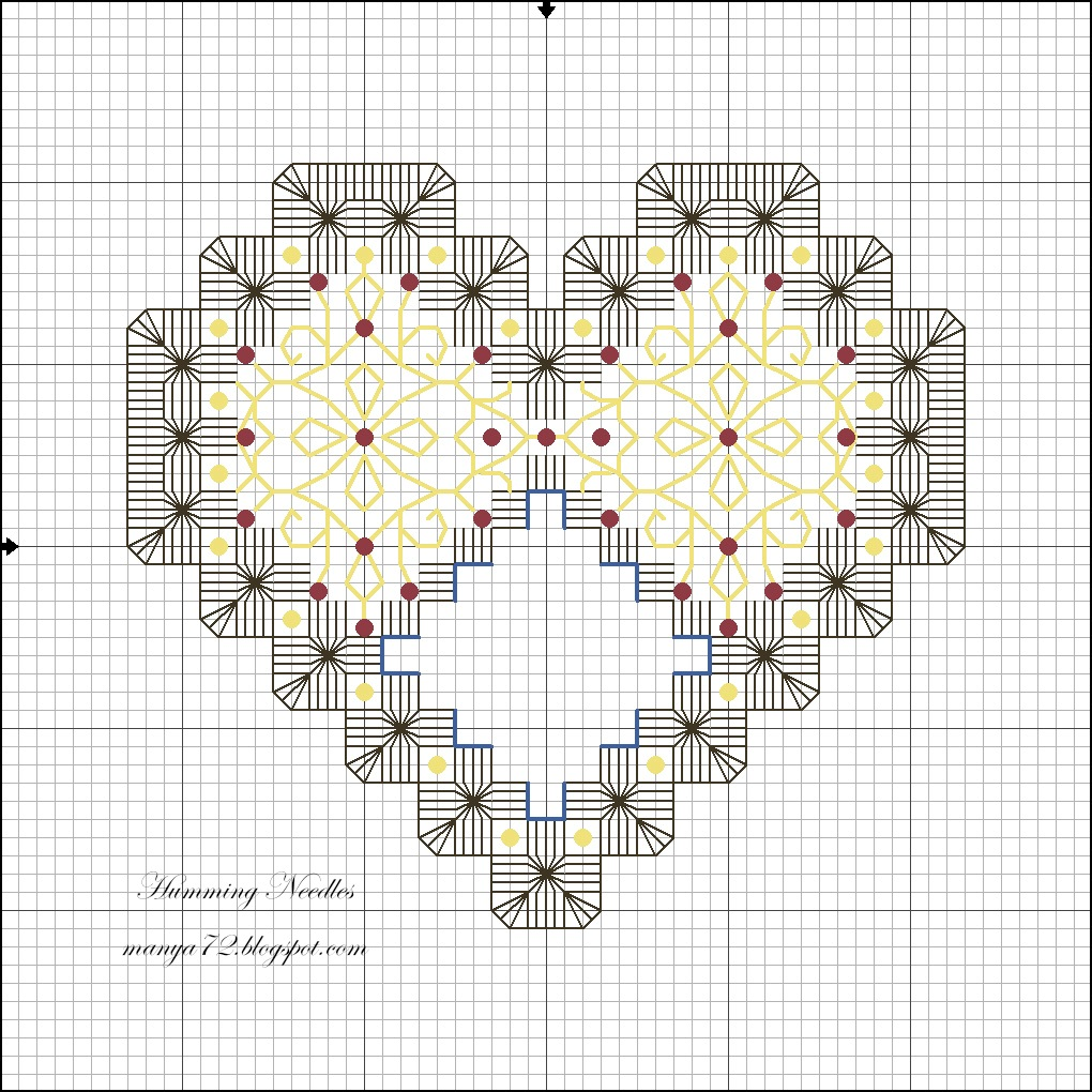 вышивка хардангер схема сердечко