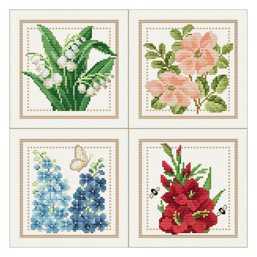 вышивка схемы цветы