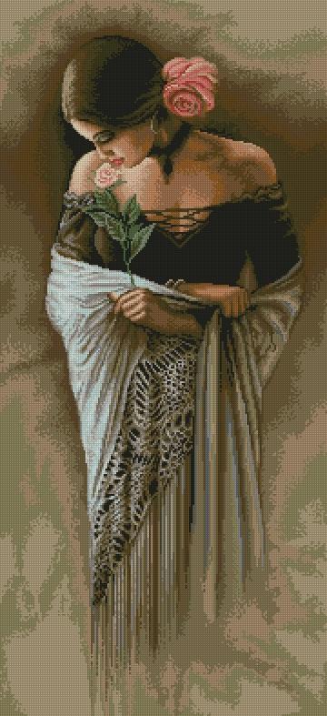 схема для вышивки испанка с цветком