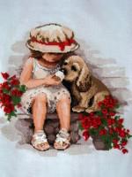девочка с щенком схема для вышивки