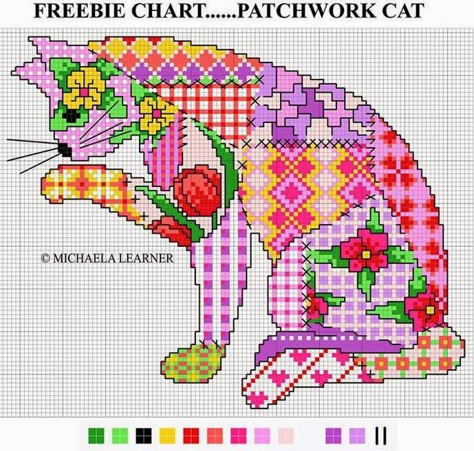 схема для вышивки кошка