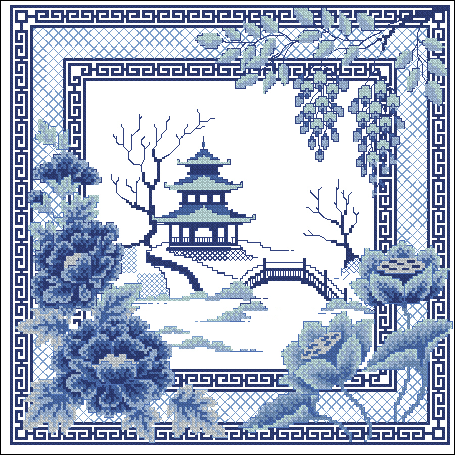Схемы вышивок в синих тонах