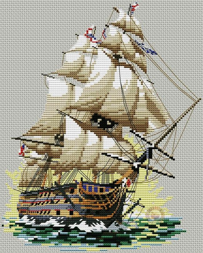 схема для вышивки корабль