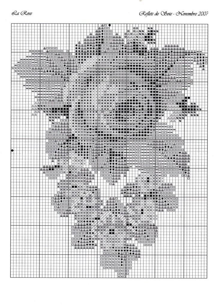 схемы вышивки розы