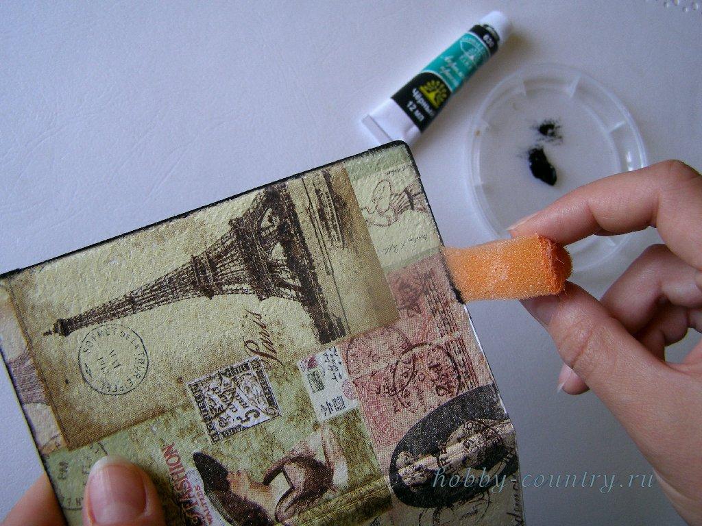 обложка на паспорт декупаж пошагово