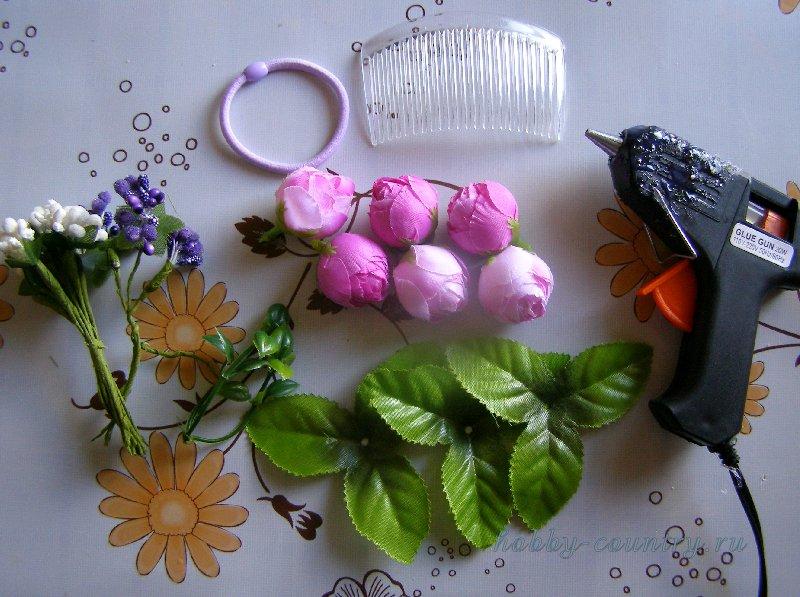 акссессуары для волос с искусственными цветами пошагово