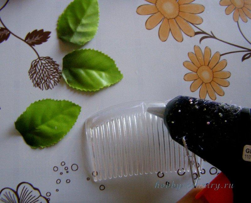 украшение гребешка для волос мк