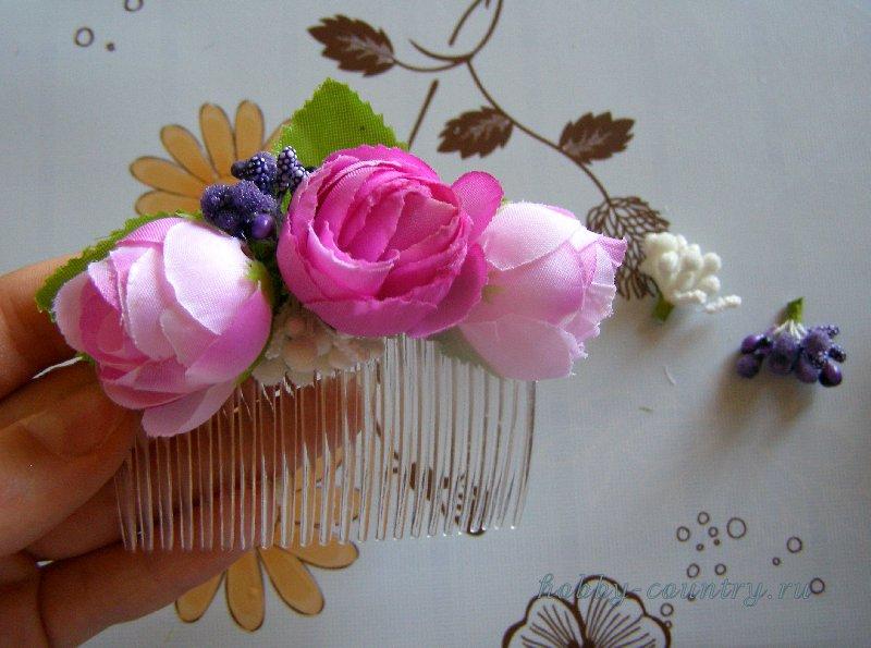 гребешок для волос с цветами ручная работа