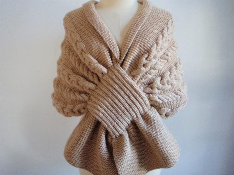 шарф накидка спицами