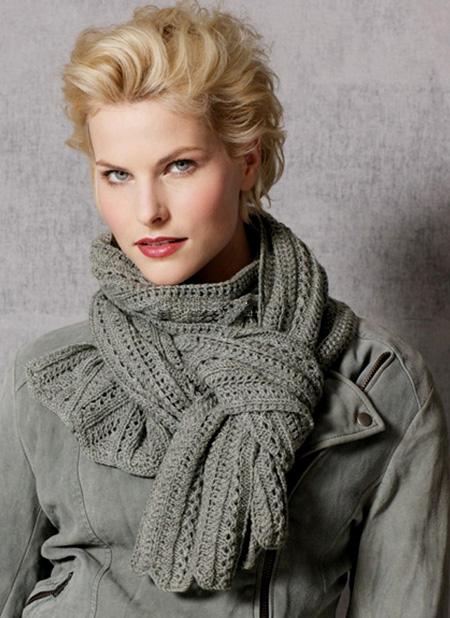 вязание шарфа спицами