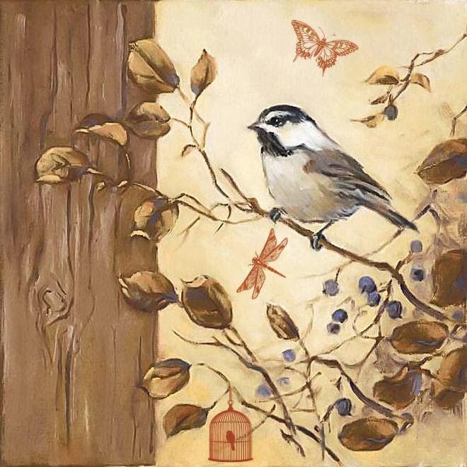 декупаж иллюстрации птицы