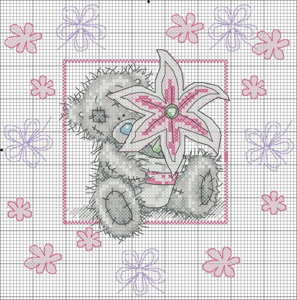 lily схема вышивки мишки тедди