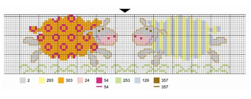 вышивка крестом схемы овечки
