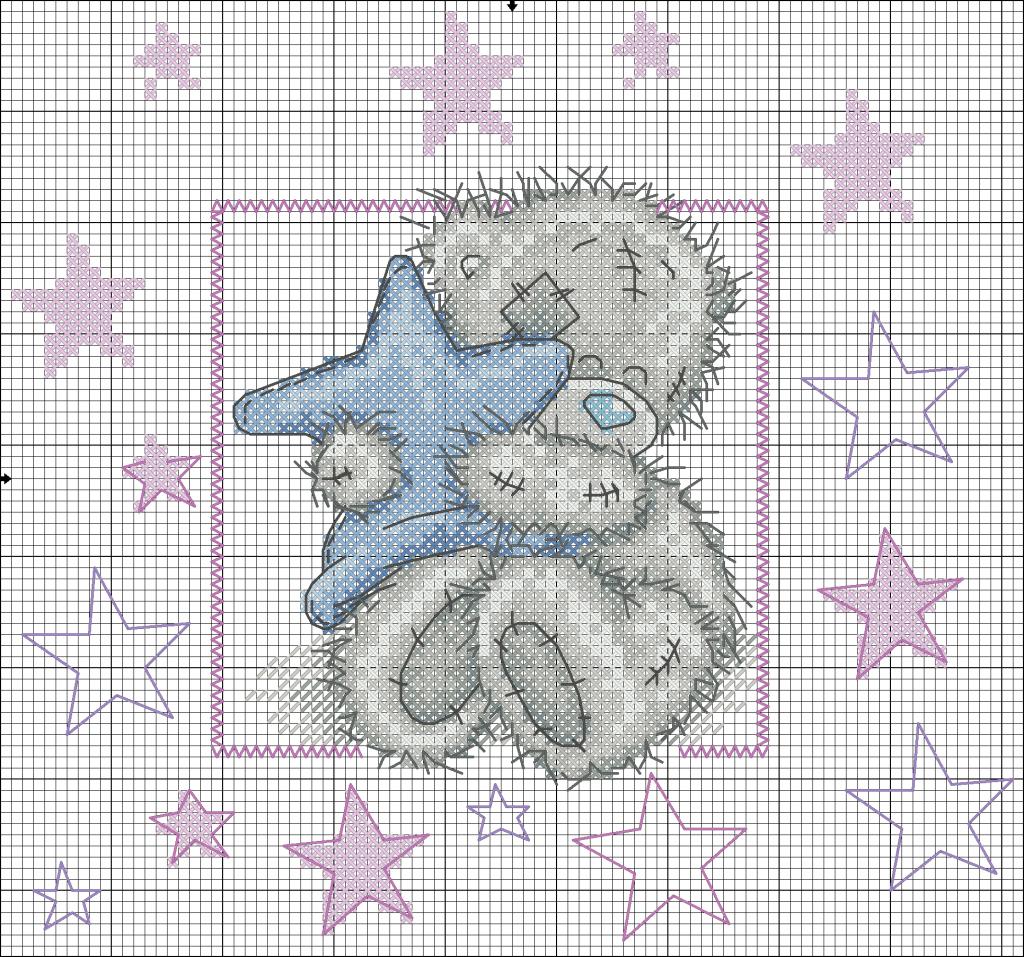 схема вышивки мишки тедди