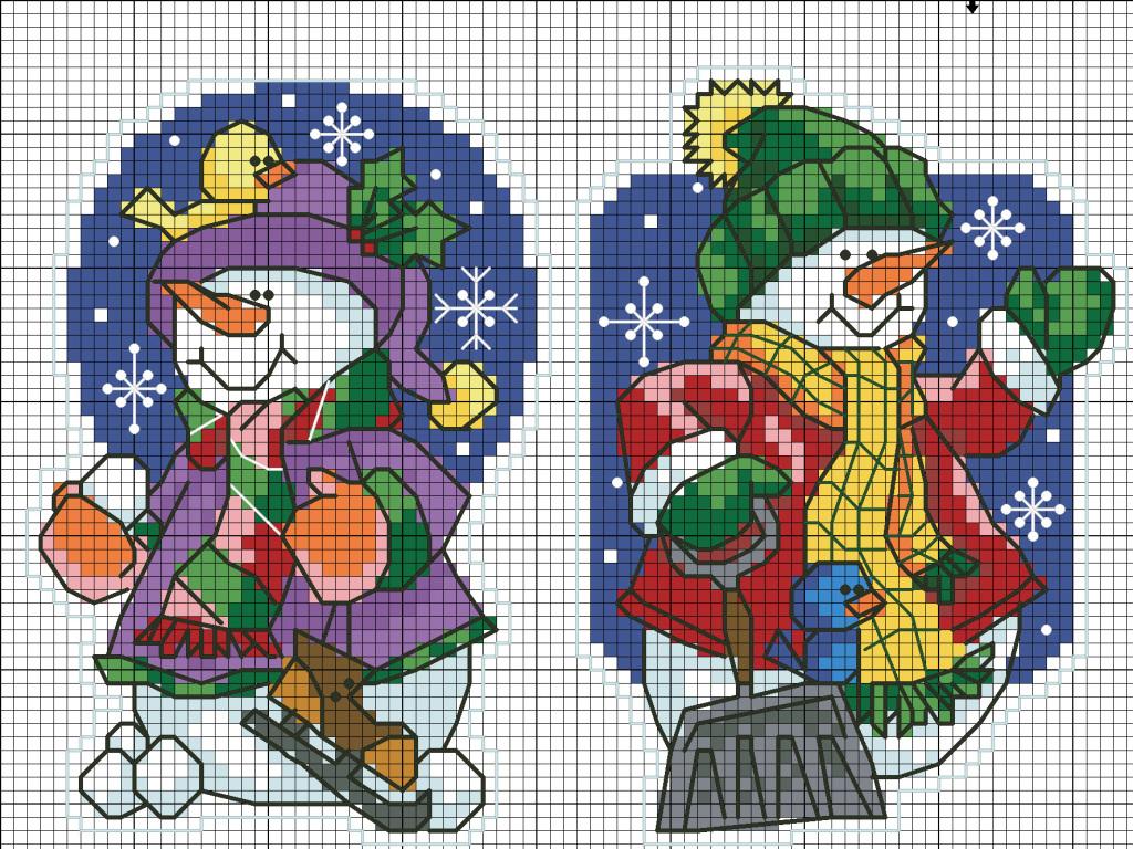 схемы вышивки снеговиков