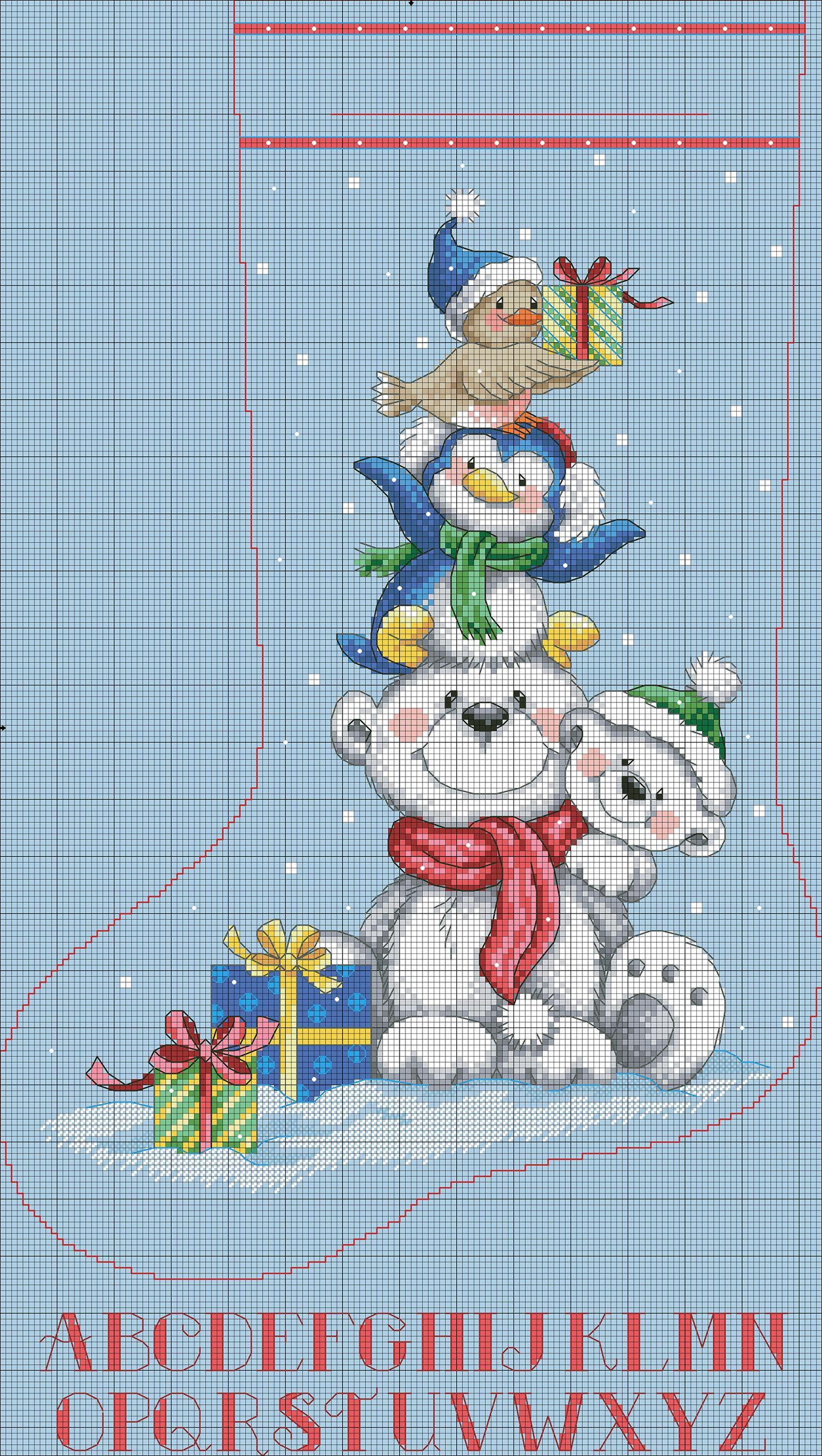 Схема вышивки новогоднего сапожка 98