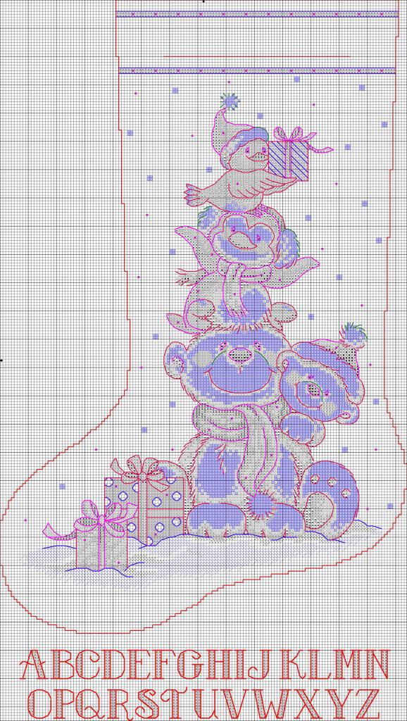 Рождественский носок схема вышивка крестом