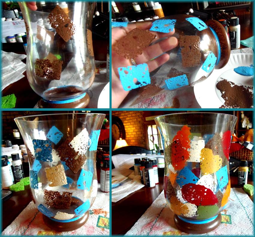 роспись стеклянных ваз акриловыми красками,