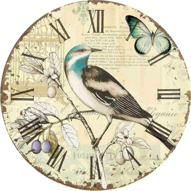 декупаж часы птицы