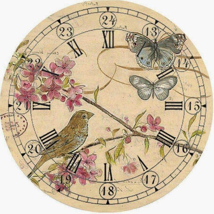часы бабочки декупаж