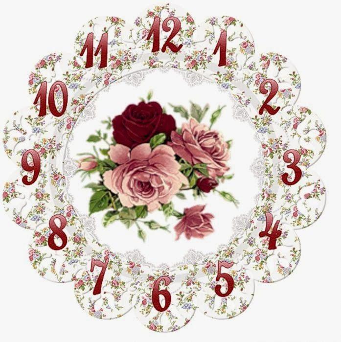 часы декупаж розы