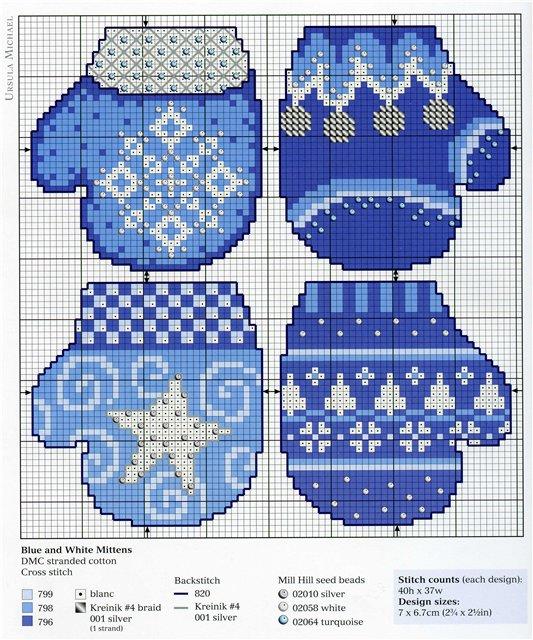 Схемы вышивки рукавички