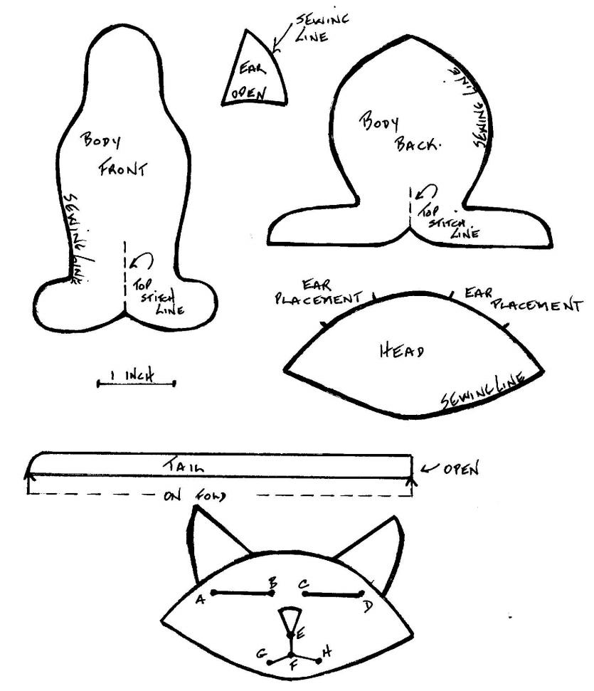 кошки из ткани выкройки