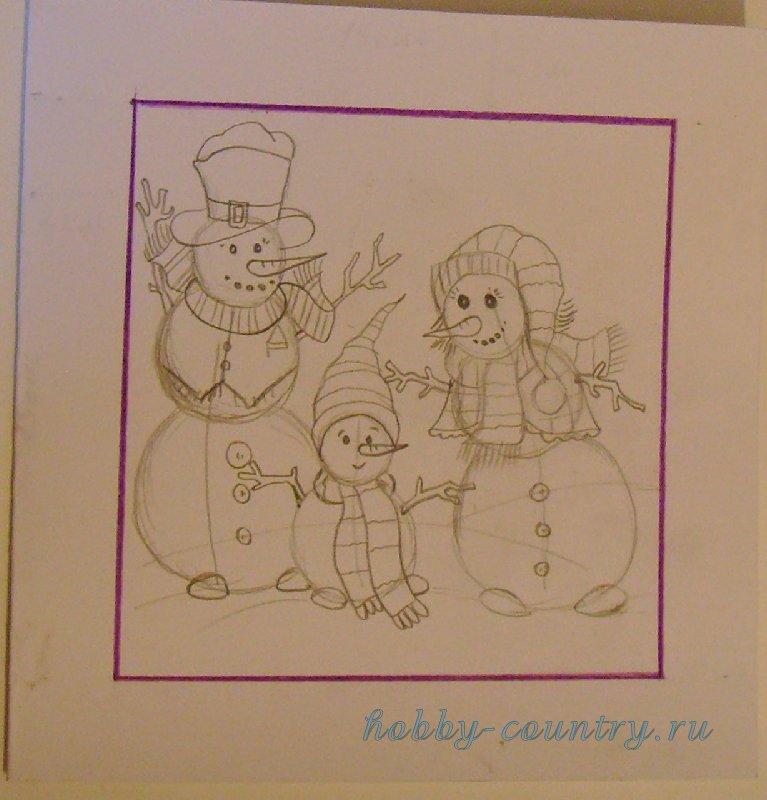нарисовать новогоднюю открытку своими руками