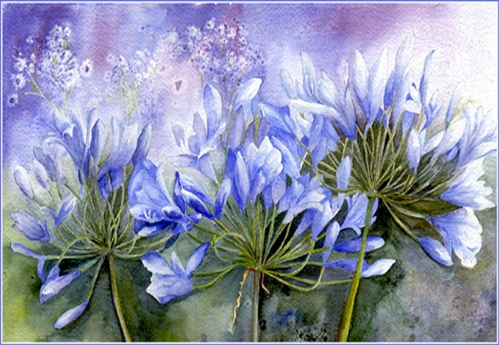 голубые цветы картинки для декупажа