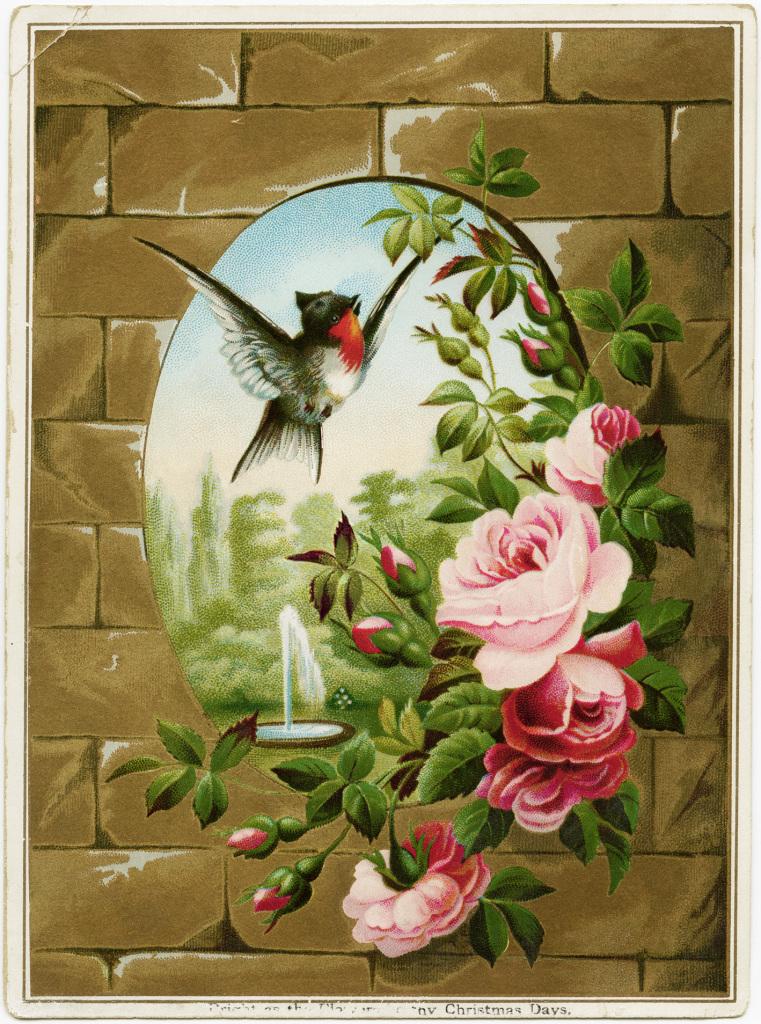 картинки для декупажа цветы птицы  винтаж