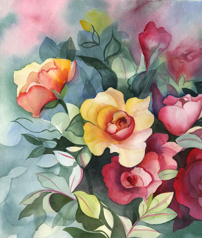 Цветы акварель картинки нарисованные