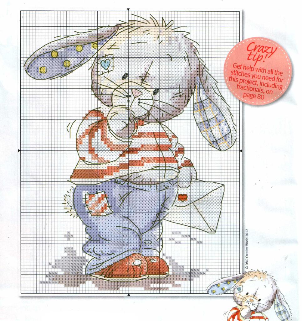 схема вышивки крестом зайчик