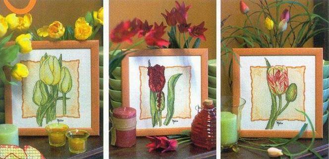 вышивка крестом тюльпаны