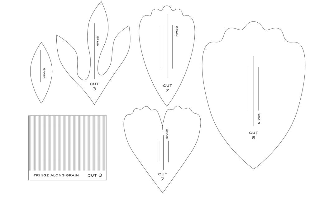 пионы из бумаги шаблон