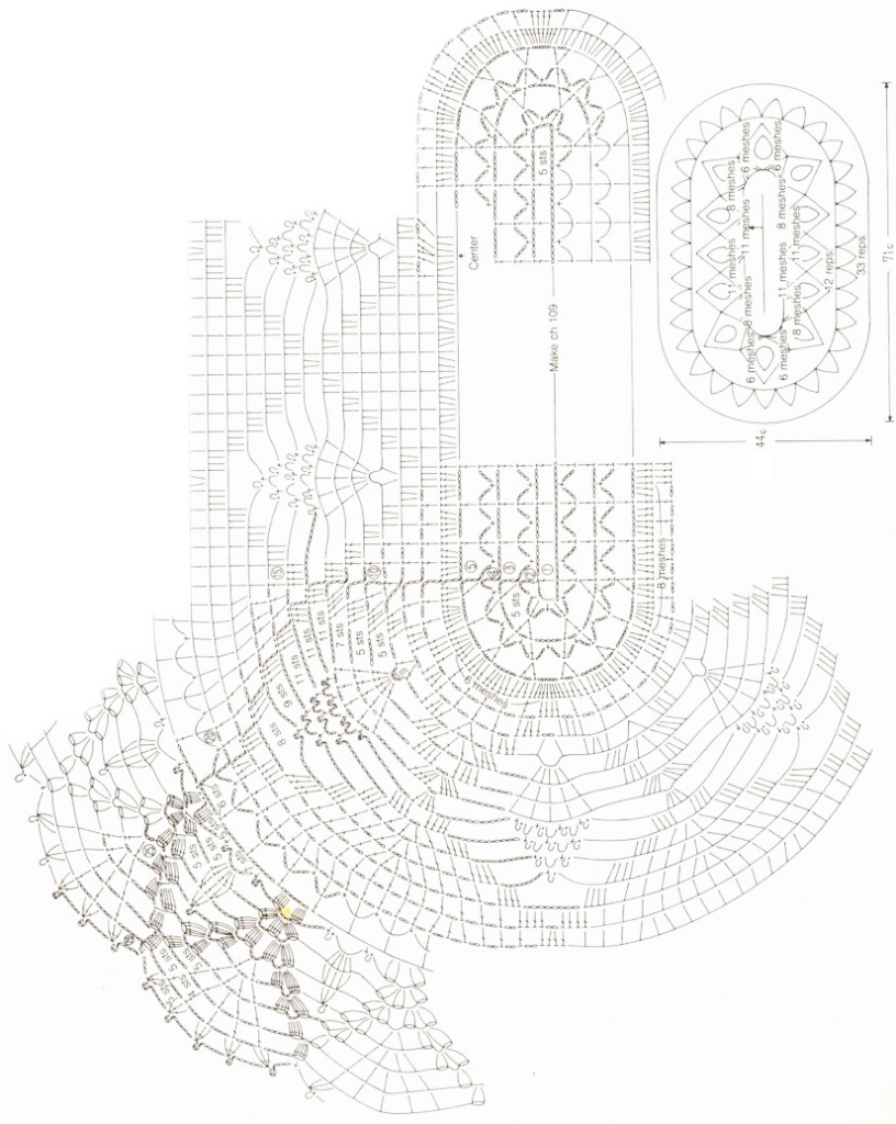 овальная салфетка крючком схема