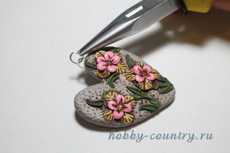 кулон цветы из полимерной глины