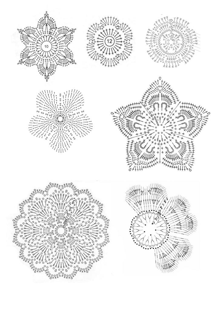 схемы цветков связанных крючком
