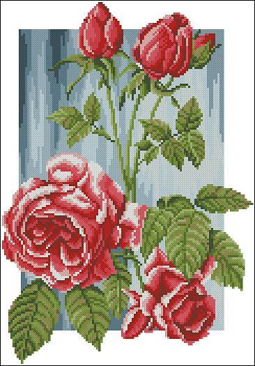 скачать схему вышивки розы