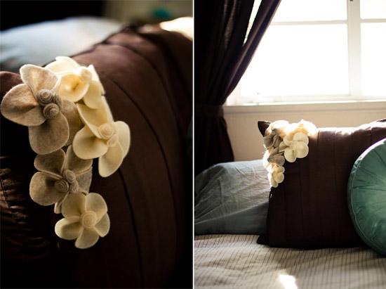 подушки с цветами из фетра