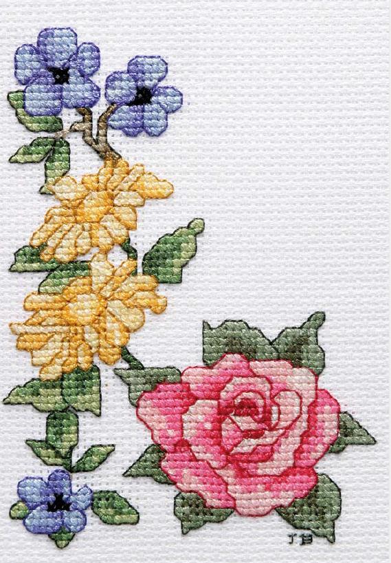 маленькие схемы вышивки крестом цветов