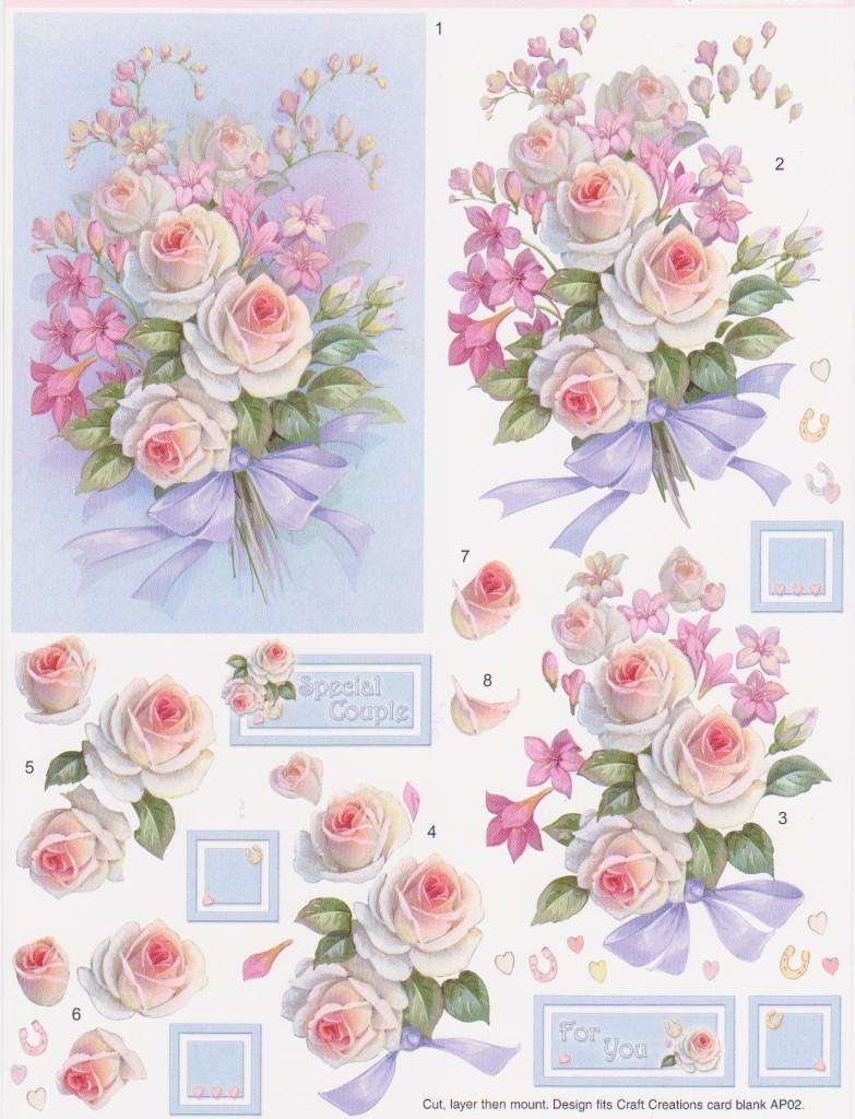 объемный декупаж цветы