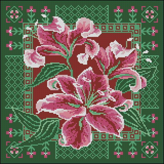 Схема вышивки подушки «Лилии»