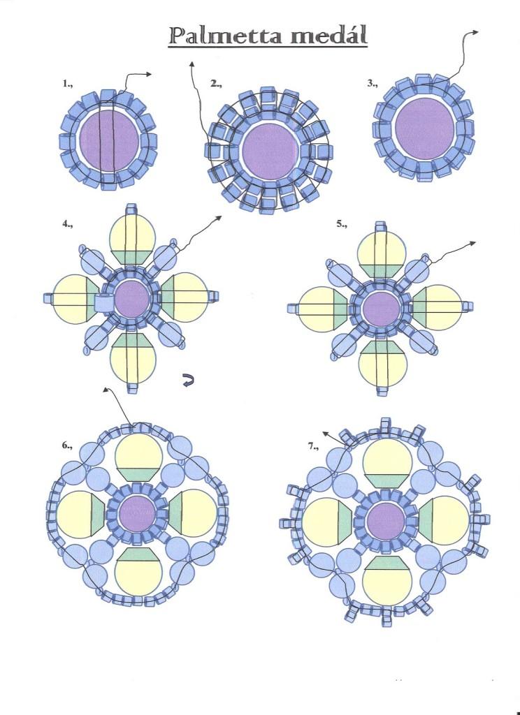 Схема кулона из бисера и бусин