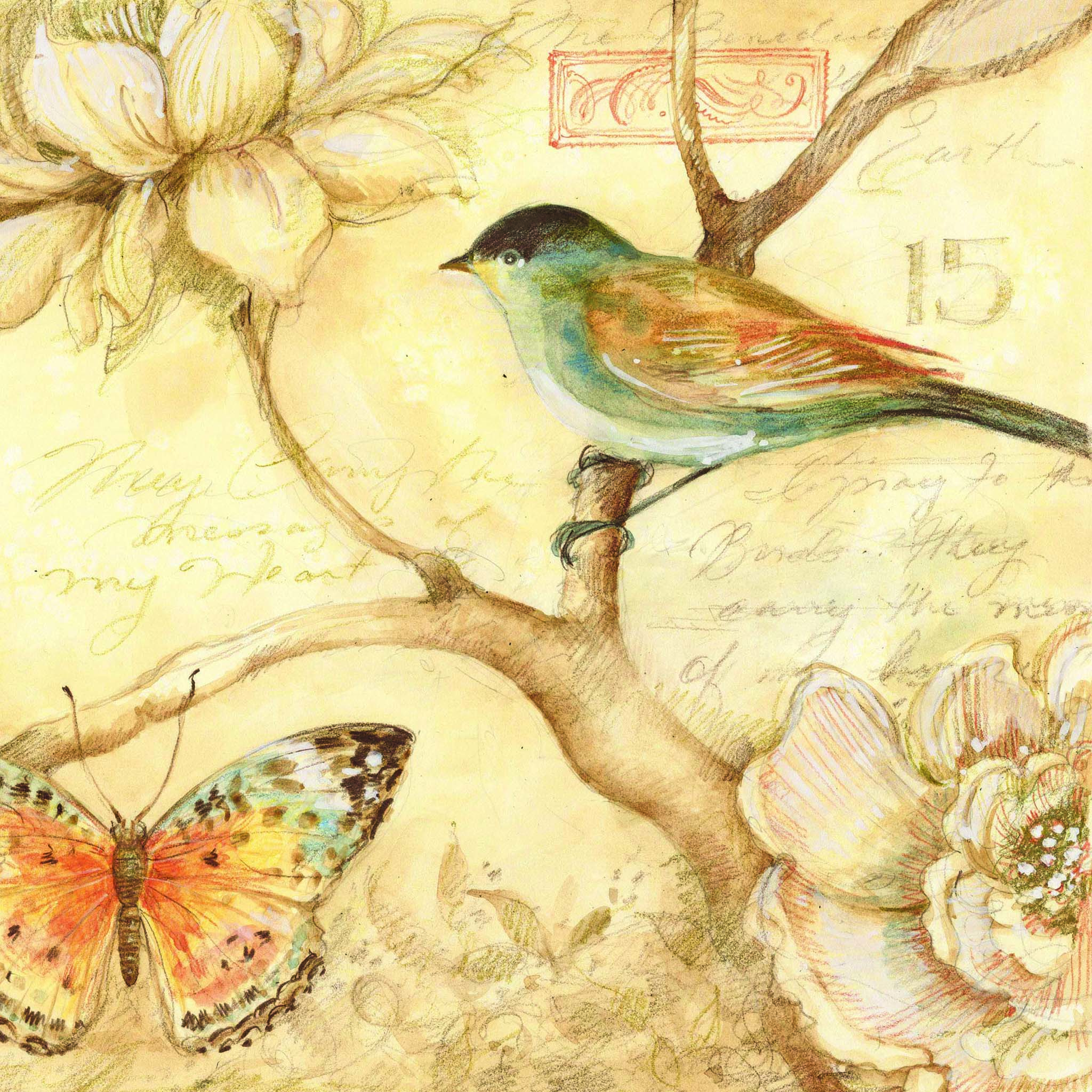 Картинки декупаж для печати птицы и бабочки