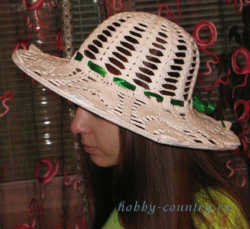 связать шляпу крючком с полями
