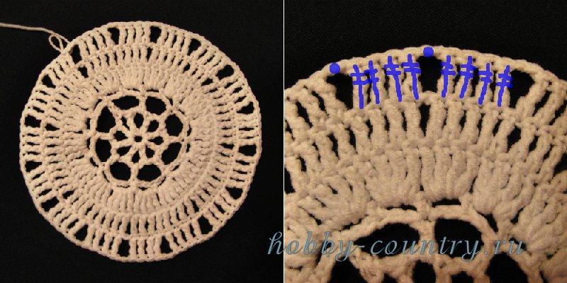 как связать шляпу с полями крючком схемы