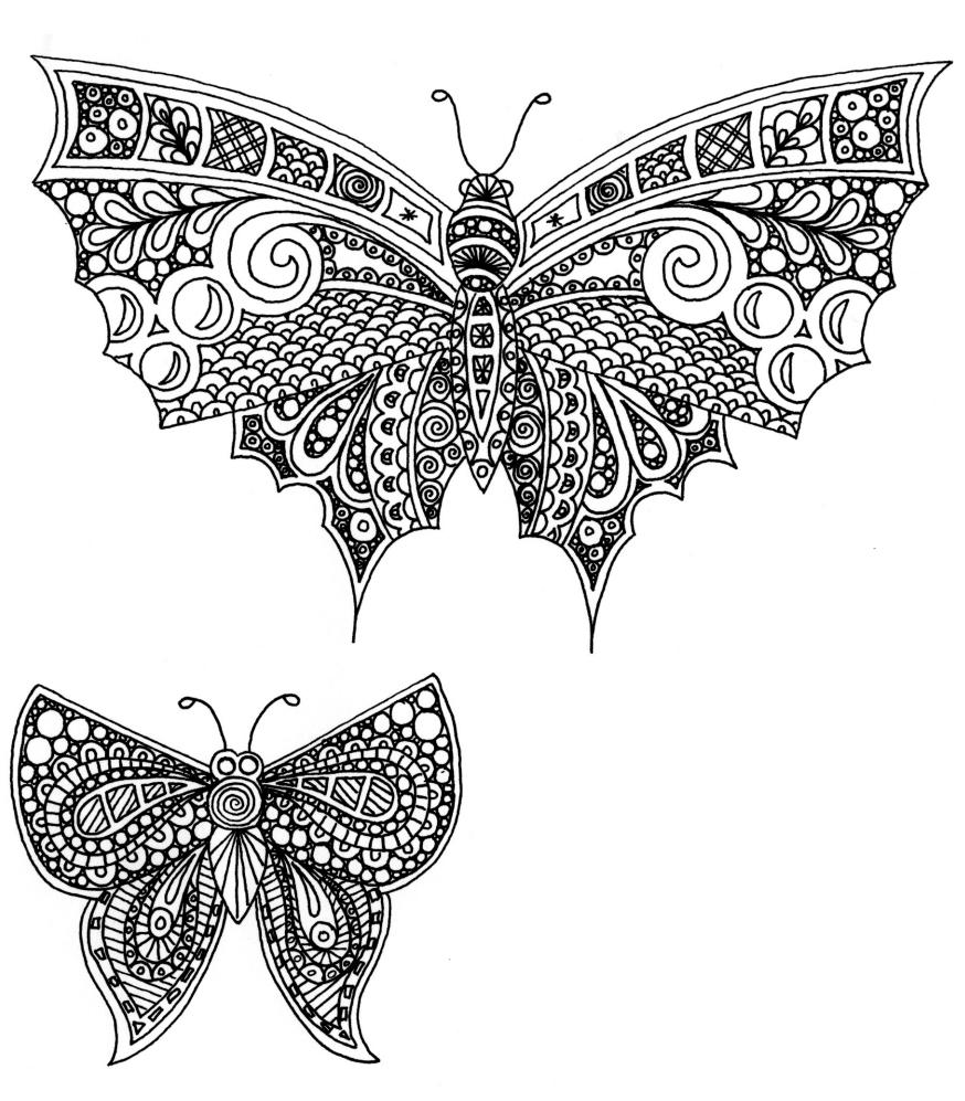 рисунки бабочек для раскрашивания