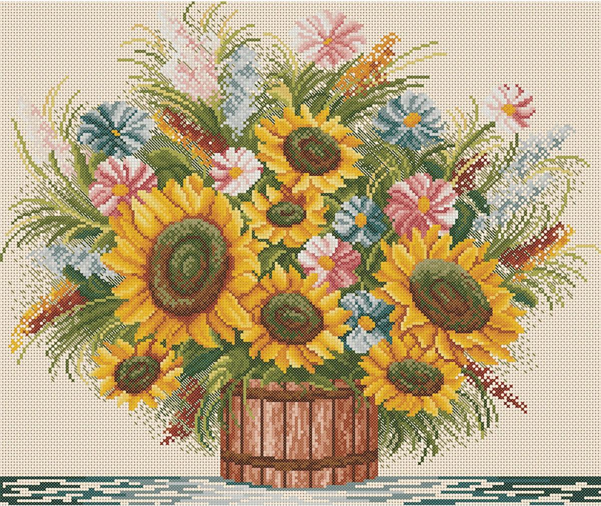 Вышивка цветов схемы подсолнухи