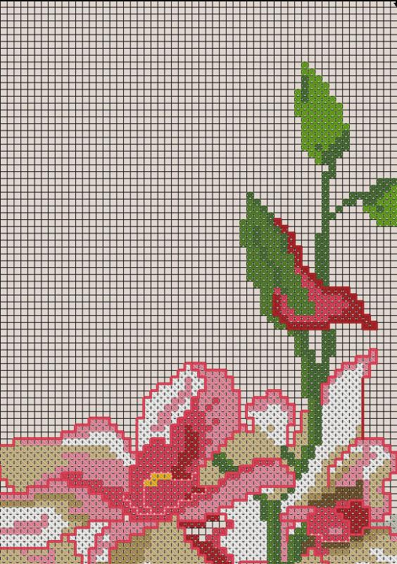 Схемы вышивок ваз для цветов 114