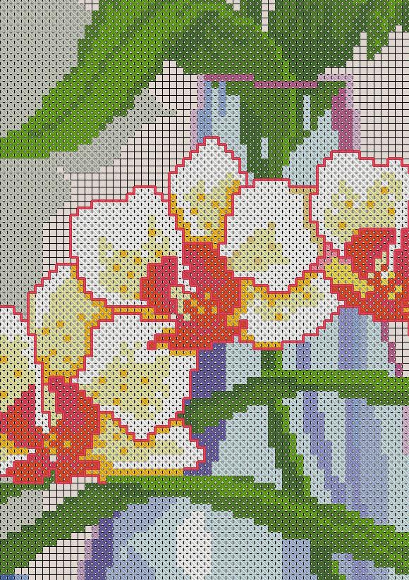 нежные орхидеи вышивка
